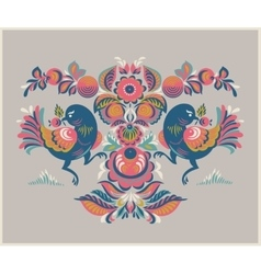 Floral pattern with two birds in gorodets style vector