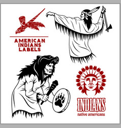 american indians set of vintage emblems labels vector image