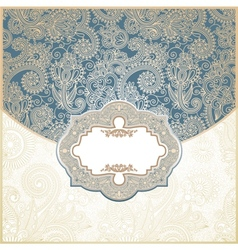 Blue and Gold Paisley Square Envelope vector image vector image
