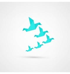 Blue origami bird vector