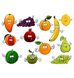 Cartoon happy fresh fruits characters vector image vector image