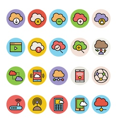 Cloud computing colored icons 5 vector