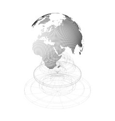 Dotted world globe with isolated construction on vector
