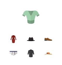 Flat garment set of uniform elegant headgear vector