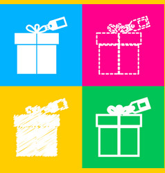 Gift sign with tag four styles of icon on four vector