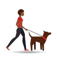 girl afro walking a brown dog vector image vector image