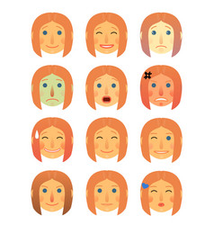 Girl or woman different face emotions collection vector