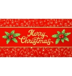 Gold texture glitter xmas lettering on red vector