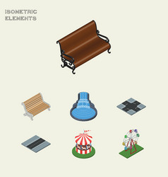 Isometric city set of carousel seat recreation vector