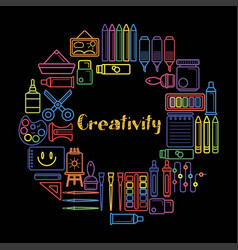 kids creativity and art design poster of vector image