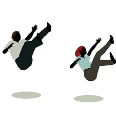 Man and woman silhouette in still pose falling vector