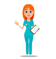 nurse medical worker in blue uniform tunic and vector image vector image