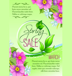 Sale floral poster of spring shopping promo vector