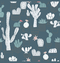 Seamless pattern of cute potted cactuses vector