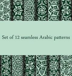 Set of 12 Arabic patterns vector image