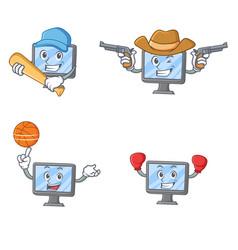 set of monitor character with baseball cowboy vector image