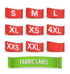 Size label fabric realistic set bright vector