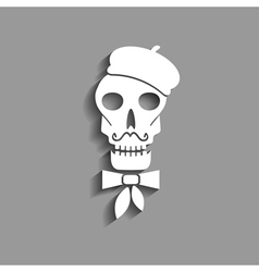 skull in french beret paper silhouette vector image