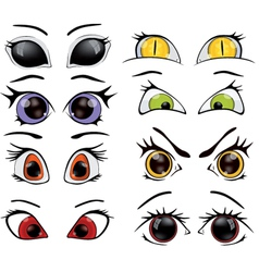 The complete set of the drawn eyes vector image vector image