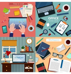 Time to Work Modern Workplaces at Office and Home vector image vector image