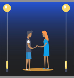 Young couple of boy and girl near streetlamps vector