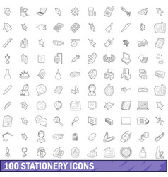 100 stationery icons set outline style vector image