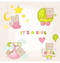 Baby girl cat set - for baby shower cards vector