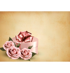 Holiday retro background with pink roses and gift vector image