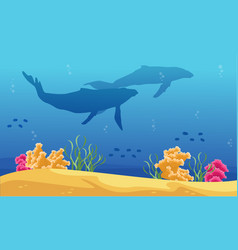 beauty landscape underwater with whale silhouettes vector image