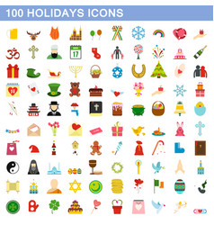 100 holidays icons set flat style vector image