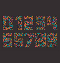 Numbers colourful set in line style vector