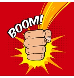 Clenched fist boom hit vector image