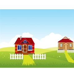 Village on hill vector