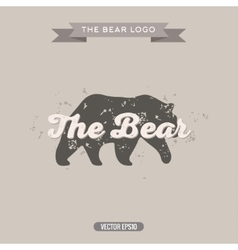 The bear vintage trend logo with effects scratches vector