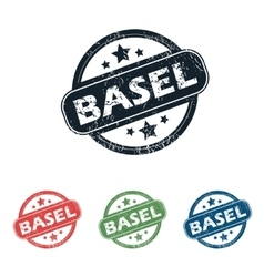 Round basel city stamp set vector