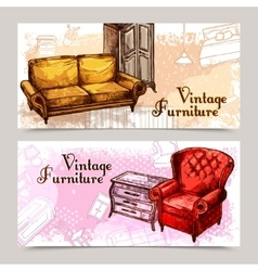 Furniture banner set vector