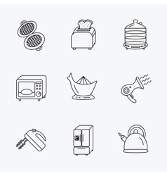 Microwave oven teapot and blender icons vector