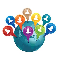 globe with markers with friends - social media con vector image