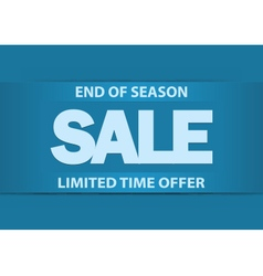End of season sale poster with bright blue letters vector