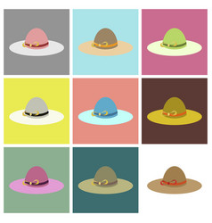 assembly flat icons women hat vector image