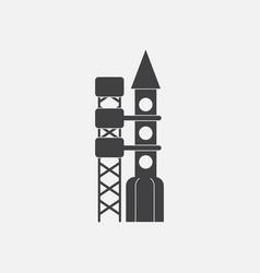 Black icon on white background rocket station vector