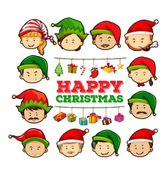 Christmas card with people wearing party hats vector