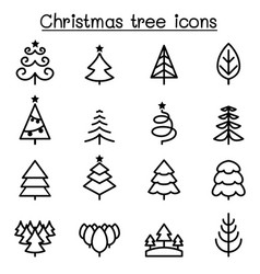 christmas tree icon set in thin line style vector image vector image