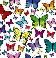 Colorful seamless with butterflies vector image