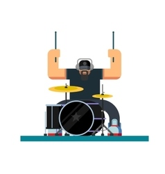 Drummer character flat vector