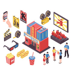 Film theatre isometric elements vector
