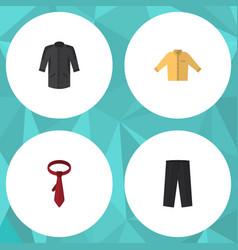 flat icon dress set of cravat banyan uniform and vector image