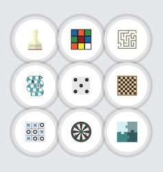 Flat icon entertainment set of labyrinth vector