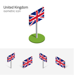 Great britain flag set 3d isometric icons vector