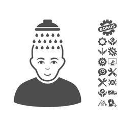 Head shower icon with tools bonus vector